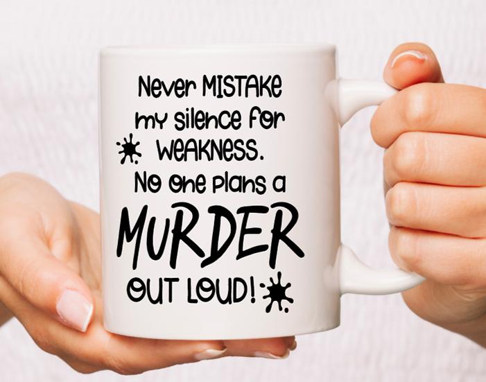 White Ceramic Murder Mug