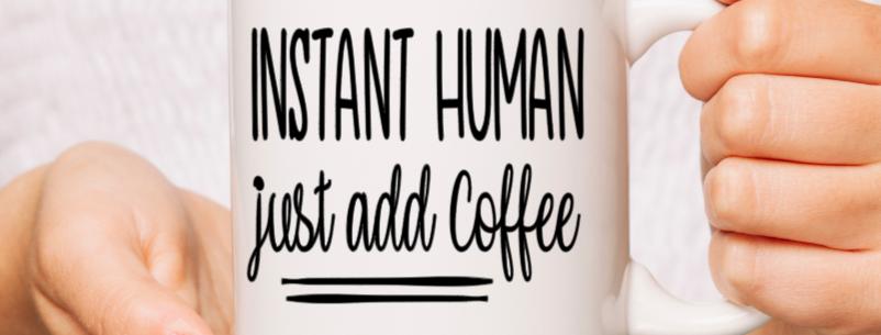 White Ceramic Instant human Mug