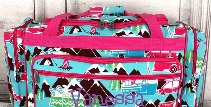 HAPPY CAMPER DUFFLE BAG WITH HOT PINK TRIM 23""
