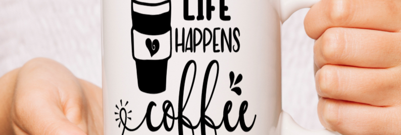 White Ceramic Life happens Mug
