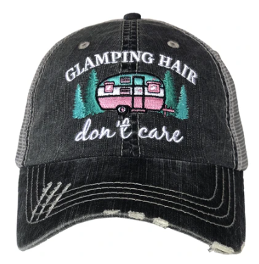 Glamping hair trucker hat