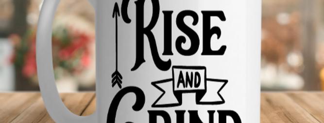 White Ceramic Rise and Grind Mug