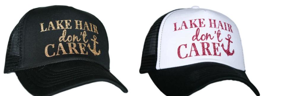 Lake hair trucker hat