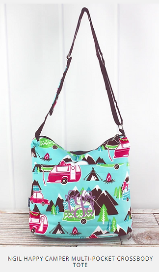 HAPPY CAMPER MULTI-POCKET CROSSBODY TOTE