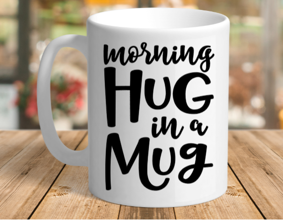White Ceramic Hug in a Mug