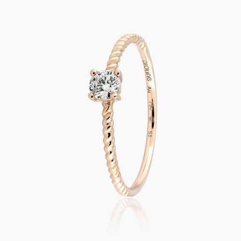 SOLITAIRE // Or rose torsadé et diamant