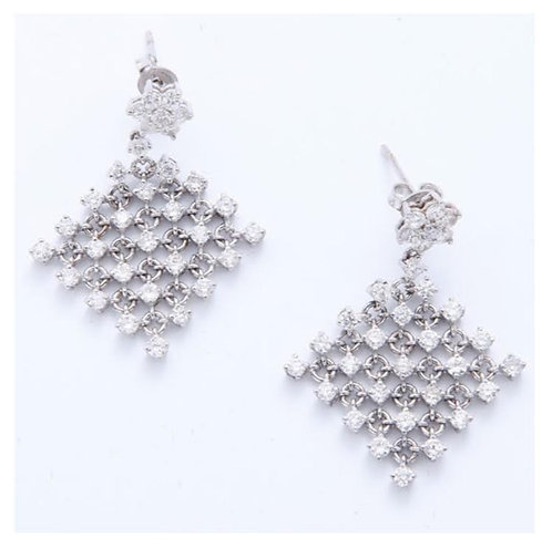 BIJOUX VINTAGE // Pendants d'oreilles or blanc diamants