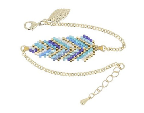 BIJOUX FANTAISIE // Bracelet doré plume bleue