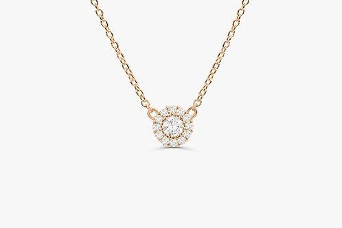 COLLIER // Pendentif or rose diamants et diamants pavés taille brillants