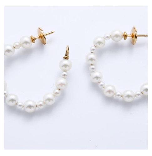 BIJOUX VINTAGE // Boucles d'oreilles créoles or perles culture
