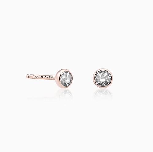 BOUCLES D'OREILLES // Or rose sertis diamants taille brillant
