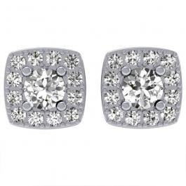 BOUCLES D'OREILLES // Or blanc serti diamant et diamants taille brillants