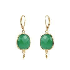 BIJOUX FANTAISIE // Boucles d'oreilles onyx vert facetté en serti plaqué or
