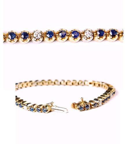 BIJOUX VINTAGE // Bracelet or jaune serti saphirs ronds et diamants