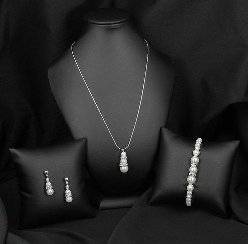 BIJOUX FANTAISIE // Parure perles nacrées et strass
