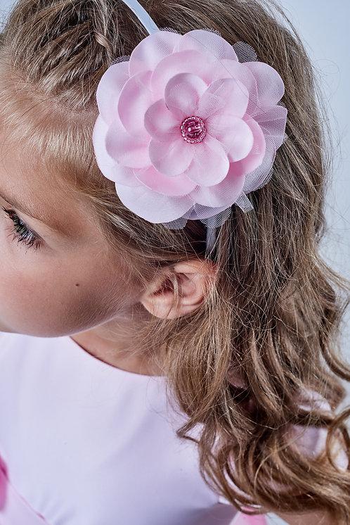 ACCESSOIRE CÉRÉMONIE / Ruban à fleur satin et tulle rose pâle