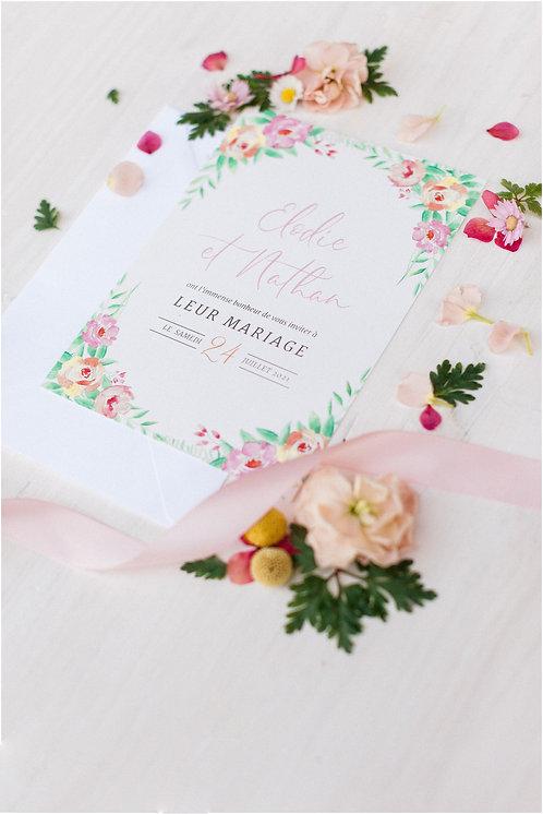 PACK FAIRE-PART // Collection Bouquet de fleurs aquarelle