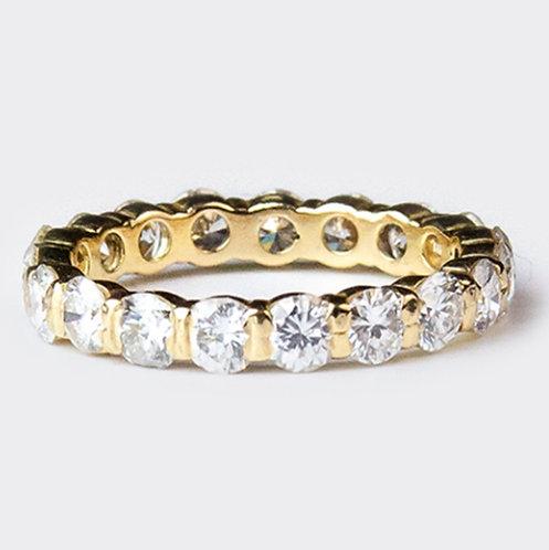 BIJOUX ANCIENS // Alliance or jaune ornée de diamants