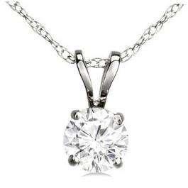 COLLIER // Pendentif solitaire or blanc serti diamant