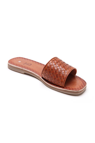 Trench woven slides cognac