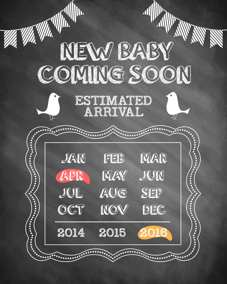 Chalk New Baby Announcement