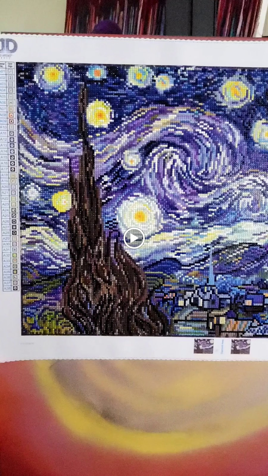 "Completed ""Starry Night"" Diamond 'painting' from the Diamond Dotz Company"