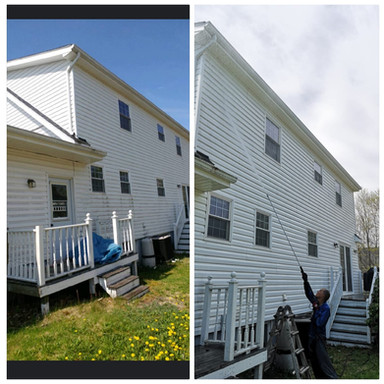 before and after power washing house