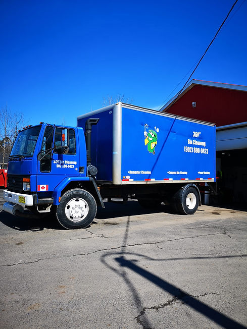 360 Bin Cleaning service truck focused with dumpster cleaning, compost bin and pressure washing located in Truro, Nova Scotia