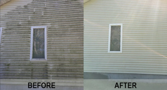 before and after of vinly siding washing