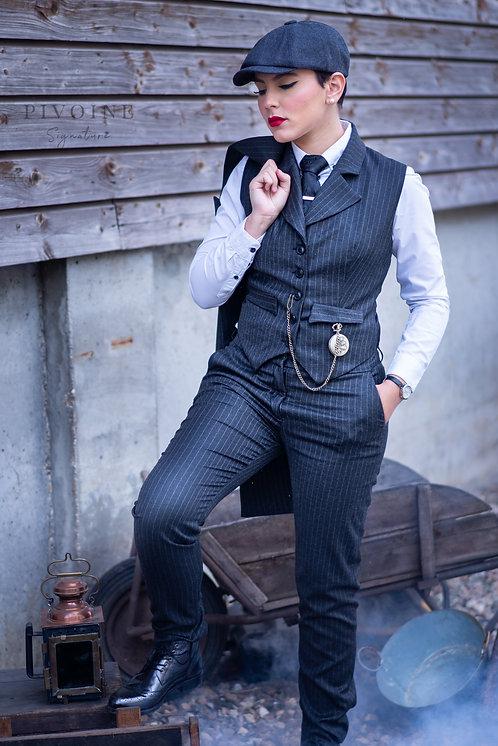 Pantalon Peaky Noir à rayures fines