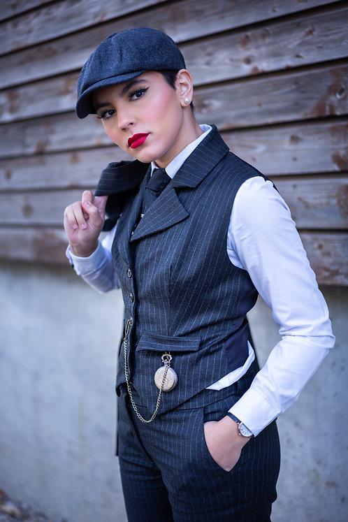Veston Peaky Noir à rayures fines