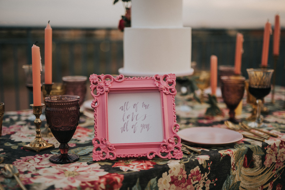 """Pink """"All of me Loves all of you"""" Wedding Sign"""