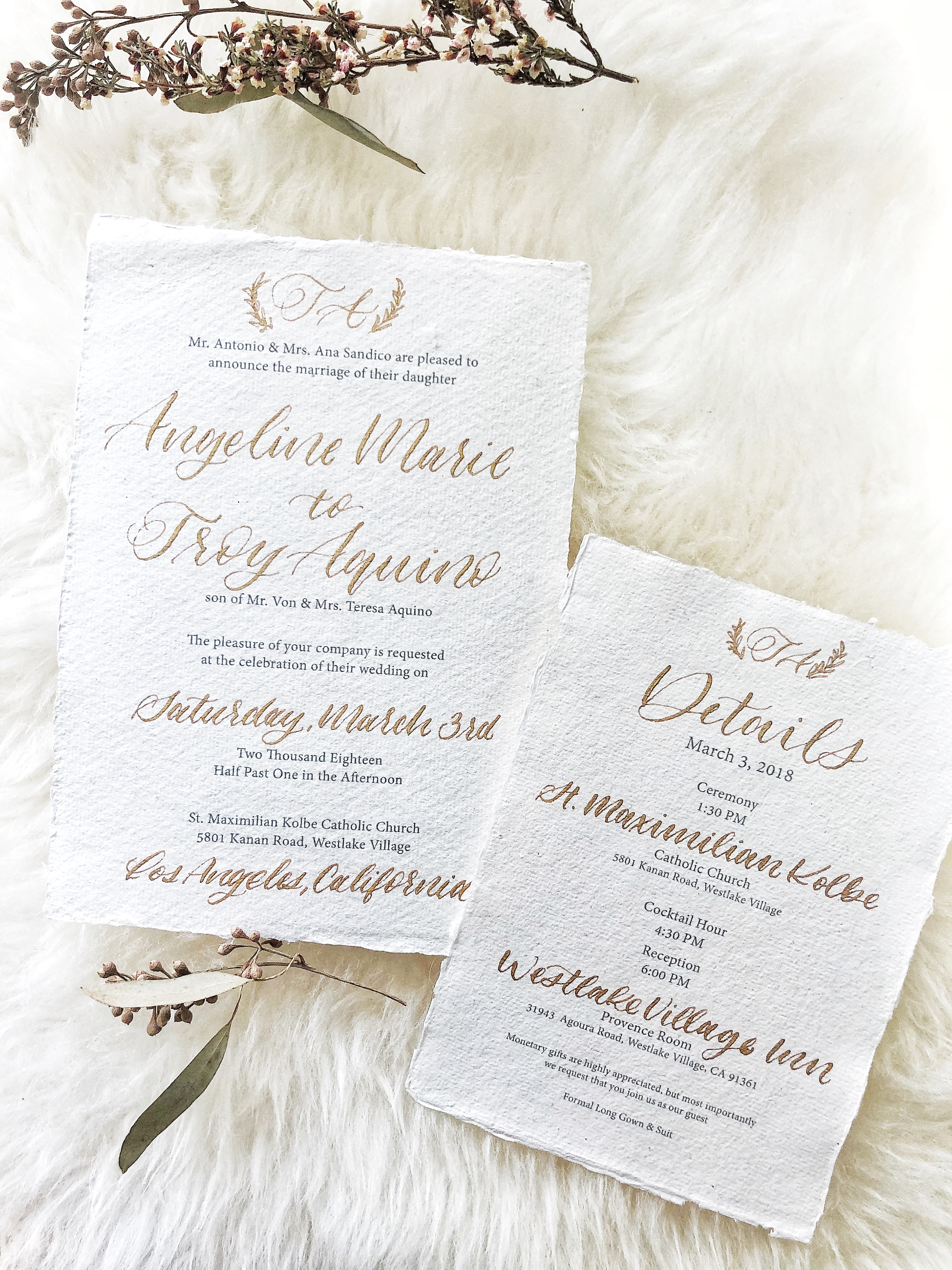 Gold and Cream wedding calligraphy