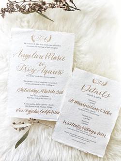 Gold and Cream wedding calligraphy