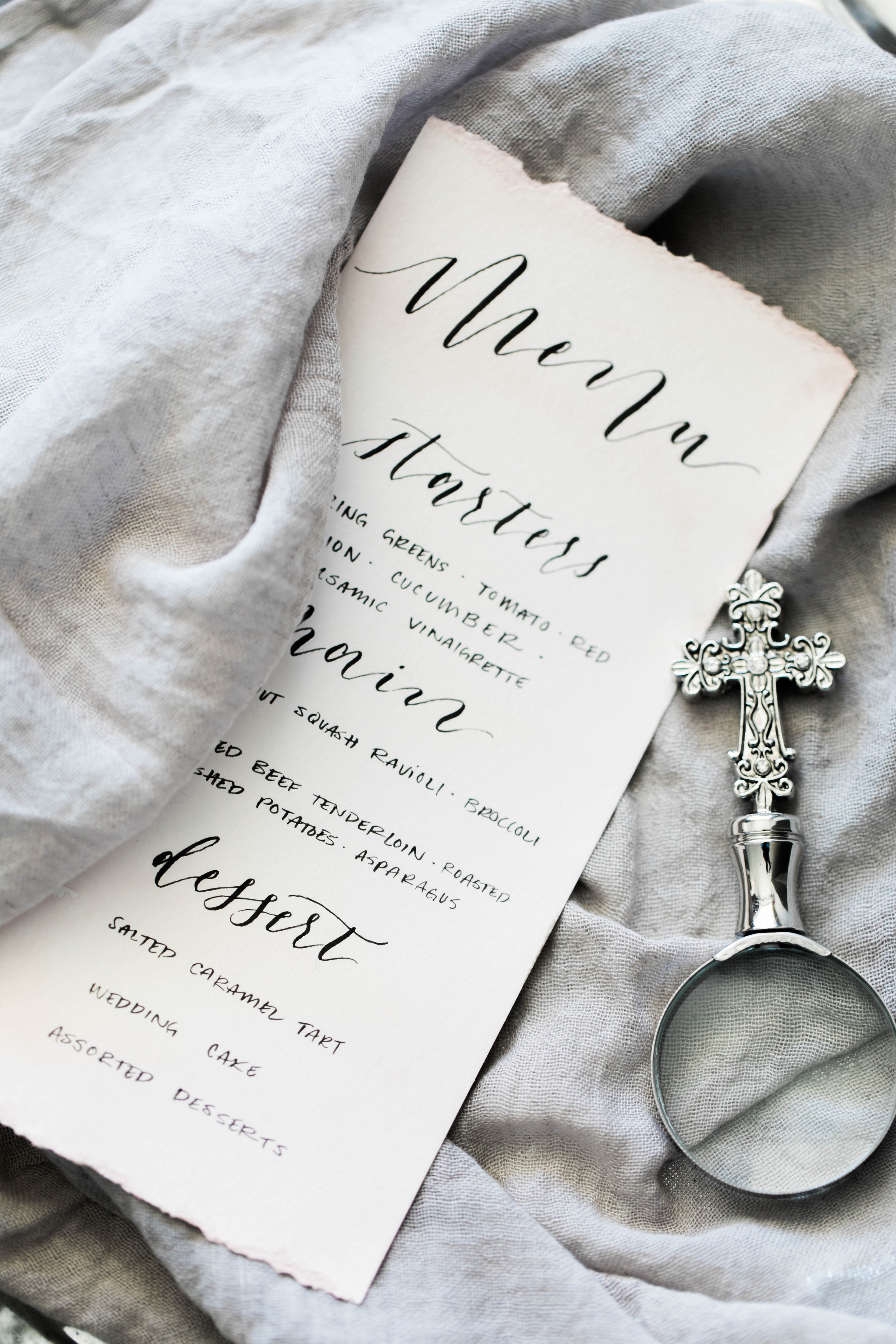 Black and white wedding menu