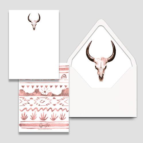 Pink Desert Stationery Set of 10