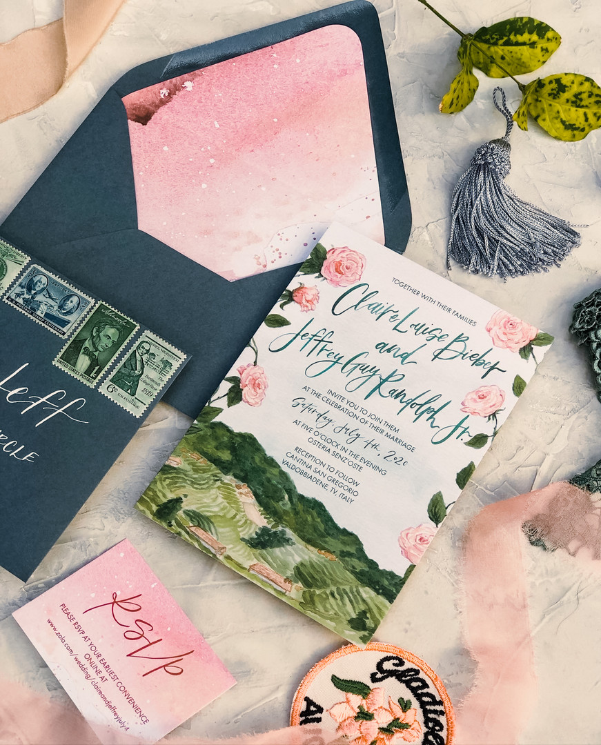 Pink Save the Dates - Envelope liners - RSVP Card