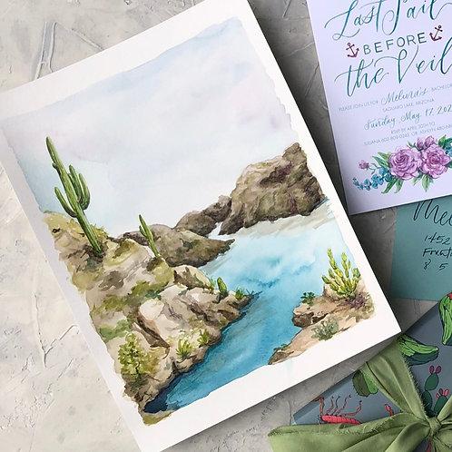 "Custom Watercolor Landscape- 9x12"" Original Artwork"