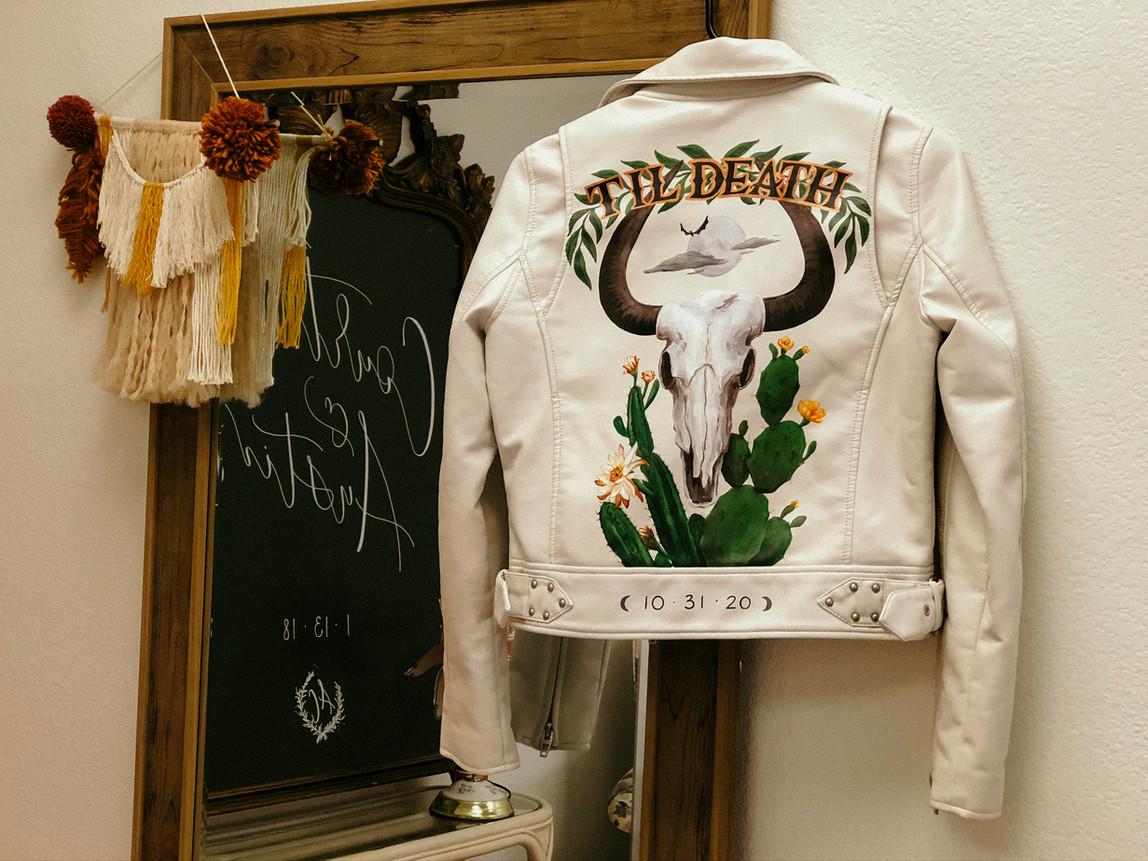 Skull Leather Painted Jacket