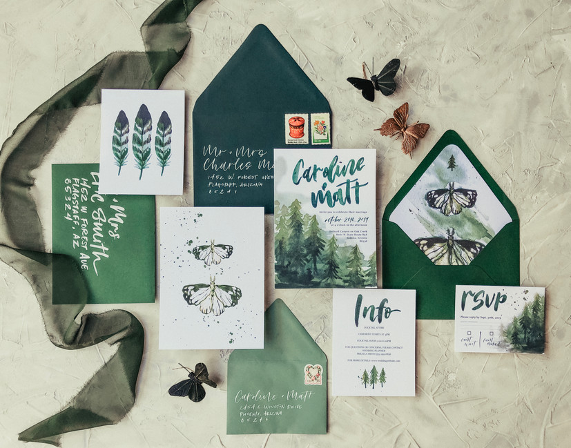 Green and Teal Wedding Invitation Suite