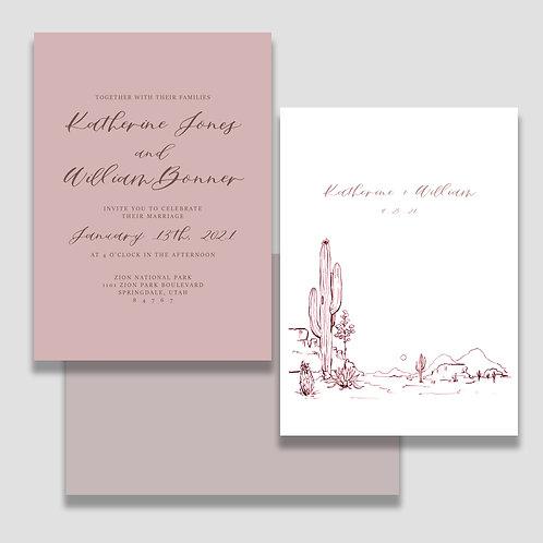 Pink Desert Invite + Envelope