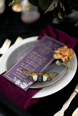 Plum and gold wedding menu