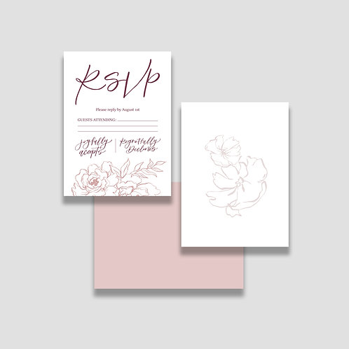 Dusty Rose RSVP + Envelope