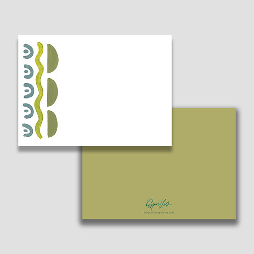 Olive Abstract Stationery Set of 10