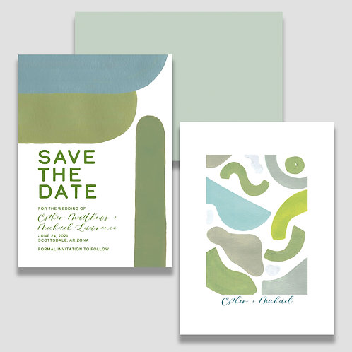 Earthy Abstract Save the Dates