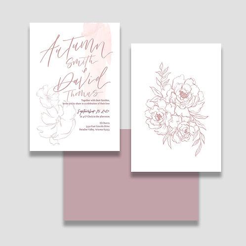 Dusty Rose Invite + Envelope