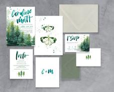 Flat Lay Forest Suite- pale grey envelop