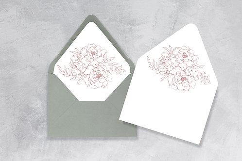 Dusty Rose Floral Envelope Liner