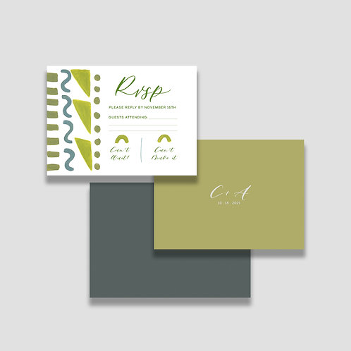 Earthy Abstract RSVP + Envelope