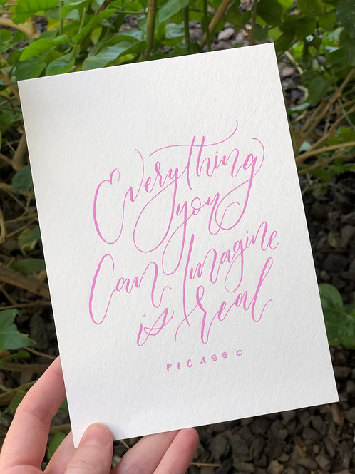 Imagine- Original Calligraphy Quote